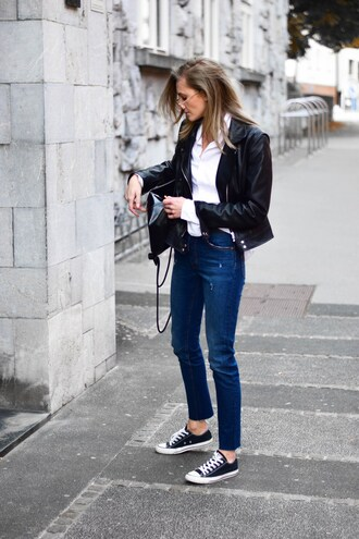 jeans tumblr blue jeans denim sneakers black sneakers shirt white shirt jacket black jacket black leather jacket