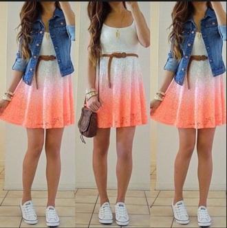 dress ombre dress lace dress orange dress jacket