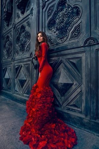 dress red dress long prom dress beautiful elegant roses pretty