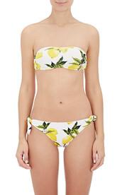 swimwear,white,white bikini,lemon print,dolce and gabbana