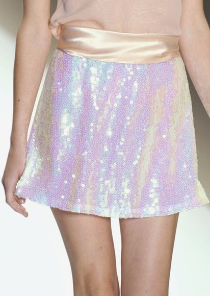 runway skirt sequin metallic iridescent glitter glittery holographic hologram