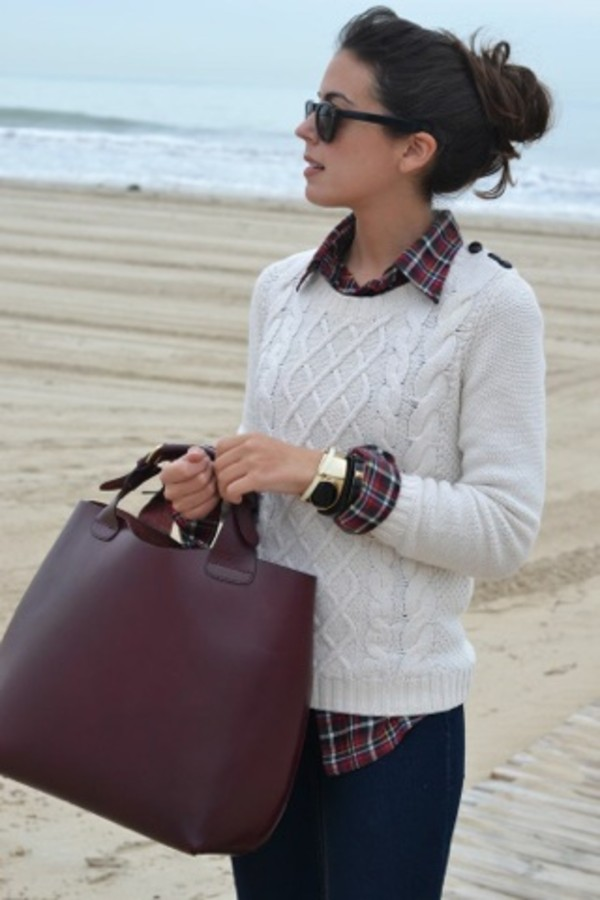 jeans plad preppy white cute bag sweater