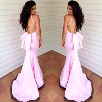 dress baby pink dress strappy dress ruffles long dress backless dress prom dress