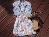 dress,floral,jacket,shoes,hot,style,girl,fashion,flowers,blue jean jacket