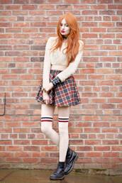 skirt,tartan skirt,socks,boots,shirt,sweater