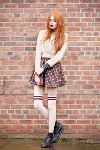 skirt tartan skirt socks boots shirt sweater