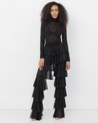 pants black black pants tiered tiered pants ruffle ruffled pants