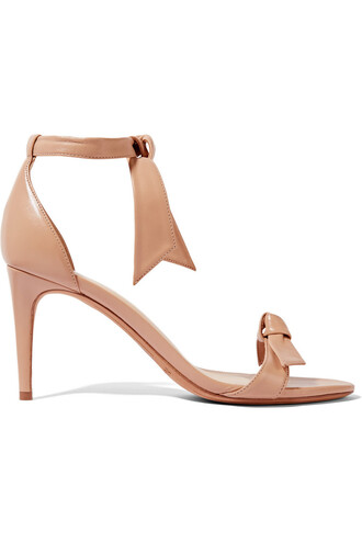 bow embellished sandals leather sandals leather beige shoes