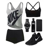 shirt,nike,shorts,tank top,underwear,shoes,workout,black,nike running shoes,blouse,hair accessory,sports bra,jumpsuit