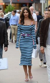 dress,stripes,striped dress,emily ratajkowski,midi dress,streetstyle,cannes,model off-duty,sandals,bra,bralette,belt