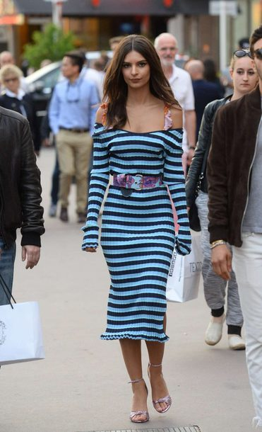 dress stripes striped dress emily ratajkowski midi dress streetstyle cannes model off-duty sandals bra bralette belt