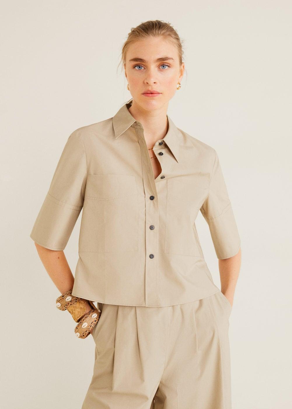 Cropped cotton shirt - Women   Mango USA