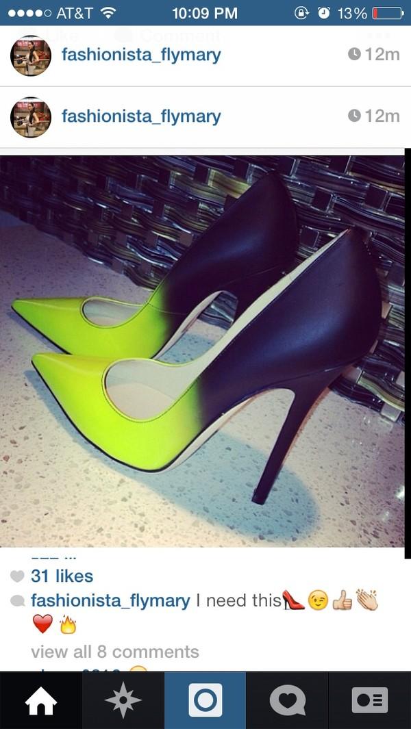 shoes high heels neon and black heels
