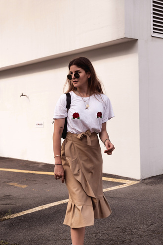 the fashion fraction blogger top skirt shoes bag sunglasses midi skirt white t-shirt summer outfits wrap ruffle skirt asymetrical skirt t-shirt tumblr nude skirt wrap skirt ruffle necklace jewels jewelry accessories accessory