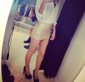 skirt gold gold sequins mini skirt gold glitter skirt blouse