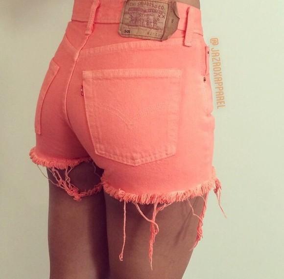 shorts High waisted shorts fashion coral shorts style