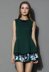 chicwish,floral hem dress,zigzag quilted green dress