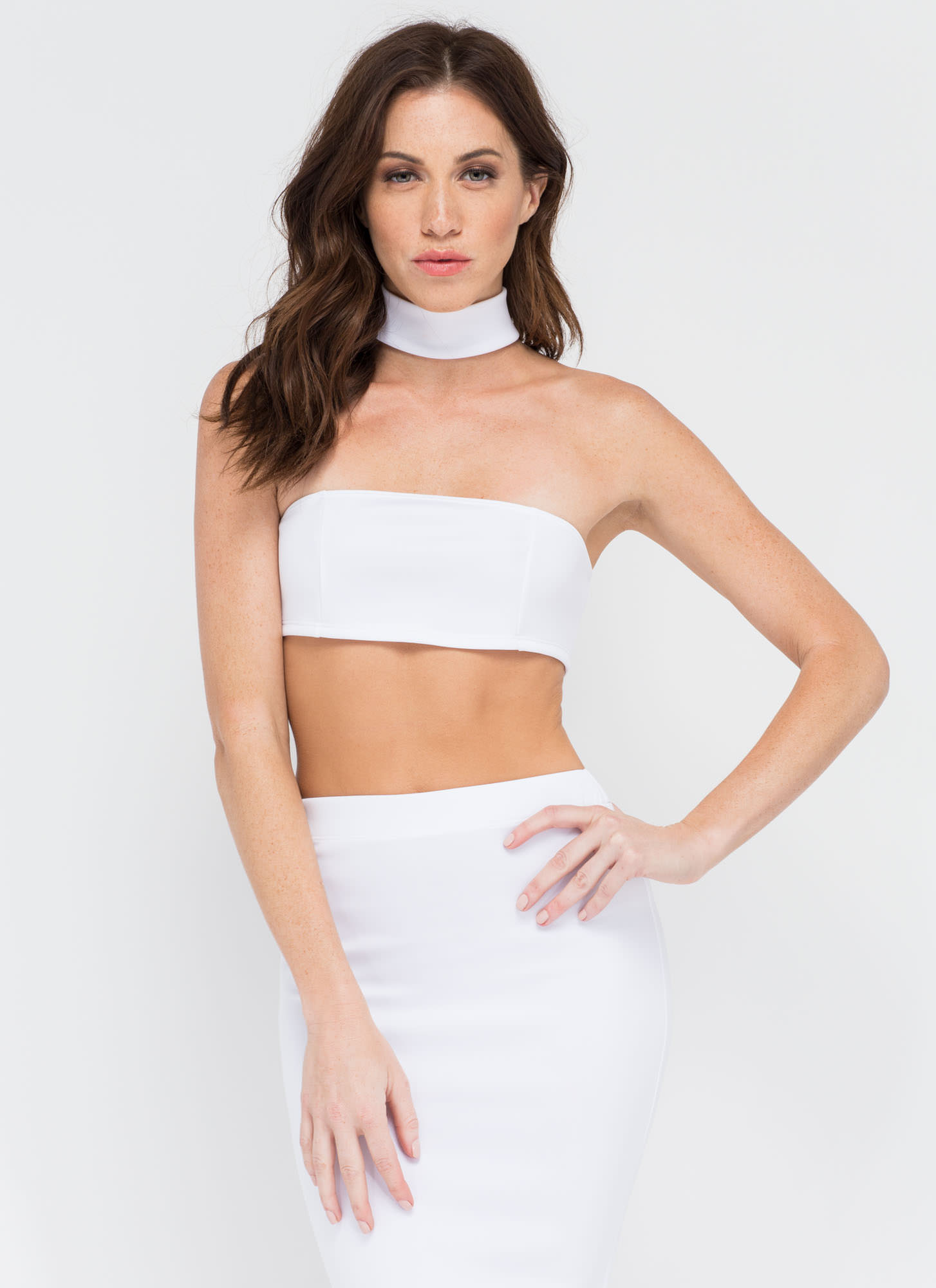 I'm With The Bandeau Crop Top BLACK RED WHITE - GoJane.com