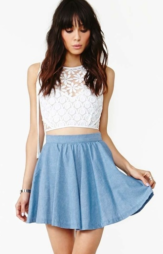 top white crop tops white lace croptop skirt