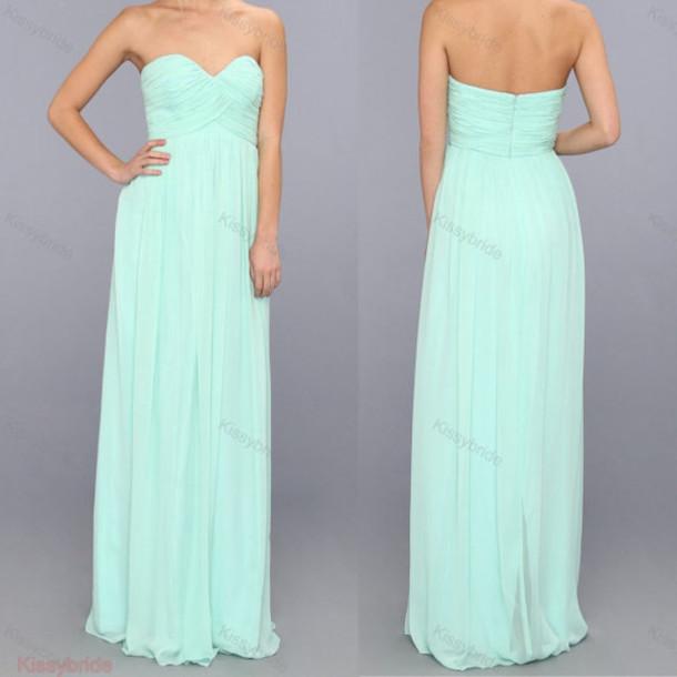 Long Mint Green Bridesmaids Dresses