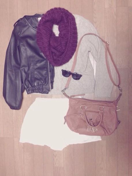 jacket scarf shorts sweater