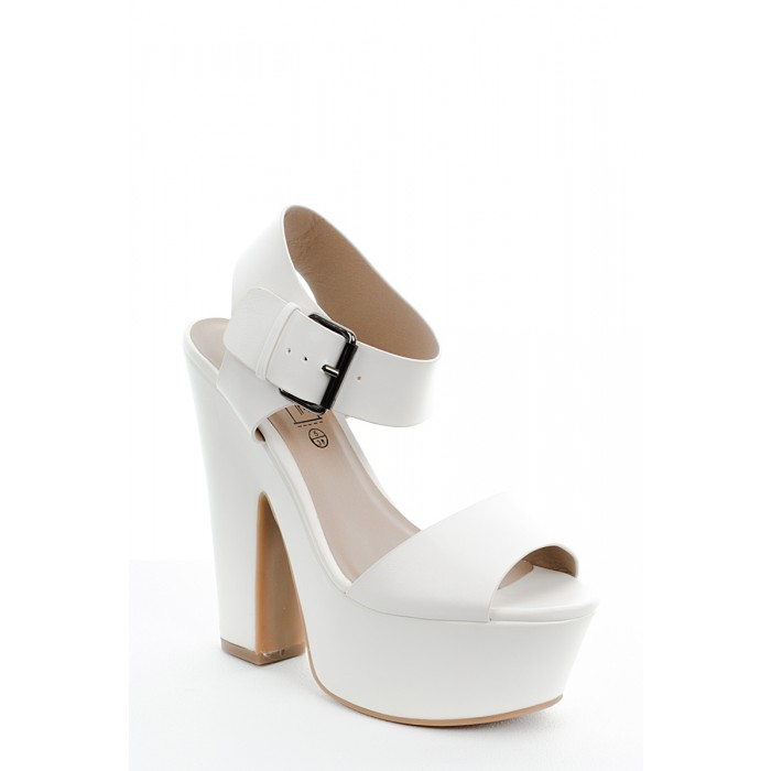 White Chunky Heel Sandals | Tsaa Heel
