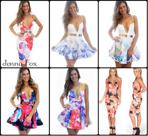 New choose your sexy floral print fit skater mini bodycon plunging dress
