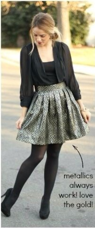 skirt metallic skirt gold
