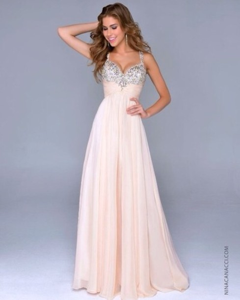 Dress: bridesmaid, long prom dress, prom, nude dress, prom dress ...
