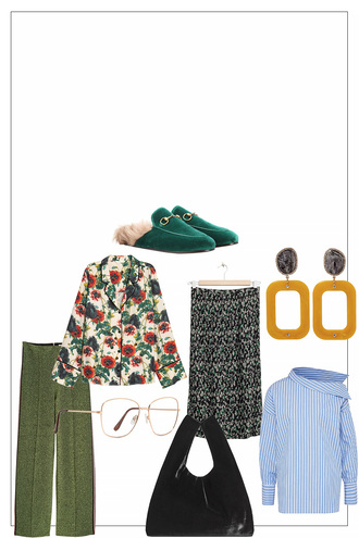 teetharejade blogger blouse pants bag skirt jewels loafers green shoes green