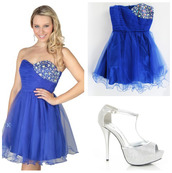 dress,homecoming,blue,heels,jewels,white,shiney,girly,cute,pretty,prom,teenagers,high school,sparkle,ruffle,sparkling dress
