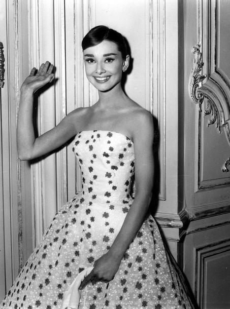Dress Audrey Hepburn 50s Style Floral Dress Bustier Dress