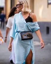 dress,shirt dress,button up,belt bag,sunglasses,lace top