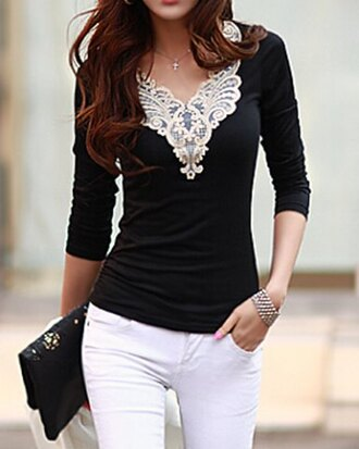 top black lace long sleeves pretty white casual fashion style girly cute embroidered