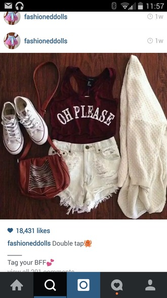 top red dress red shirt maroon/burgundy oh please high waisted shorts sweater converse purse cute sweaters cut off shorts cute shorts cute purse pullover t-shirt crop tops outfit tumblr outfit outfit idea fashion shoes cardigan shorts bag