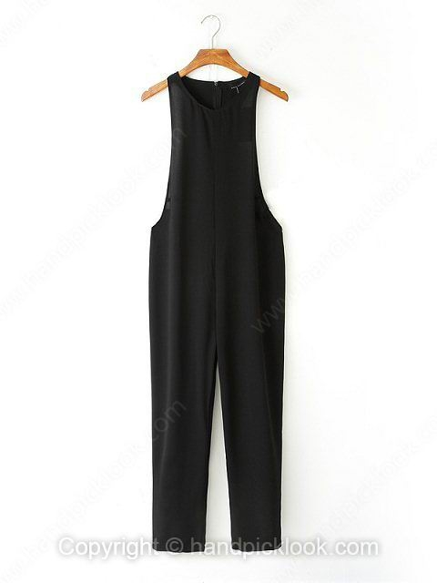 Black Round Neck Sleeveless Zip Jumpsuit - HandpickLook.com