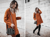 mexiquer,blogger,sweater,bag,shoes,sweater dress,winter outfits,thigh high boots,boots,shoulder bag