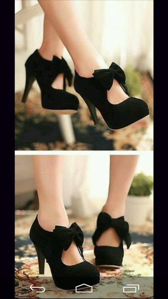 shoes black bow heels cute kawaii black heels