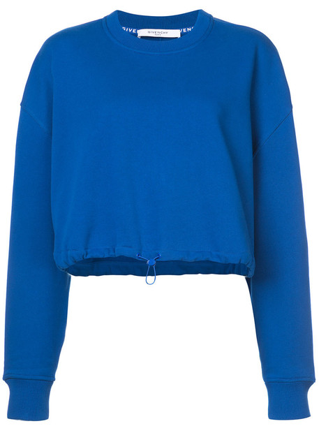 Givenchy sweatshirt cropped women cotton blue sweater