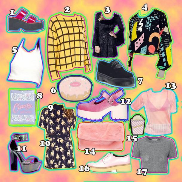 kayla hadlington blogger creepers checkered soft grunge shoes sweater dress top bag skirt t-shirt furry pouch