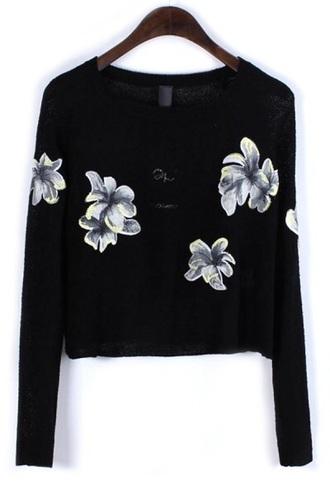 cardigan black long sleeved flowers