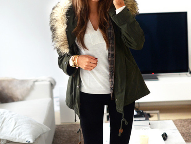 Coat: parka, jacket, navy, top, green fur coat weheartit, winter ...
