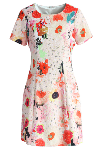 dress shades of blossoms jacquard dress chicwish jacqard dress floral dress