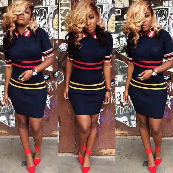 navy black colour navy dress noir stripes knitwear