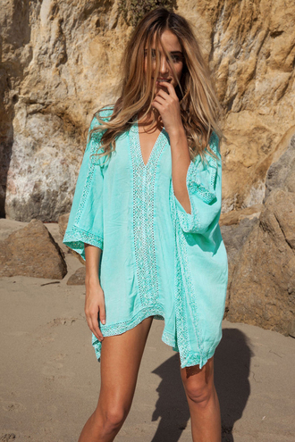 t-shirt beach dress sexy beach cover up turquoise