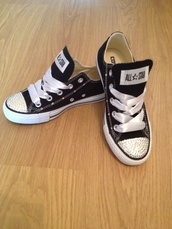 black,converse,swarvoski,crystal,bling,bling shoes,Sparkle shoes