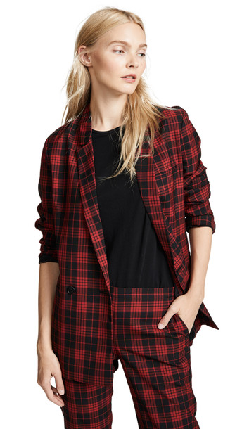 blazer double breasted plaid red jacket