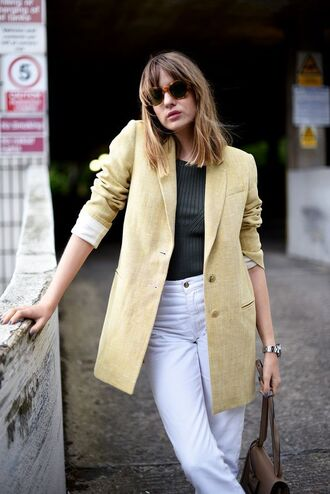 jacket green top tumblr blazer yellow top denim jeans white jeans sunglasses work outfits office outfits