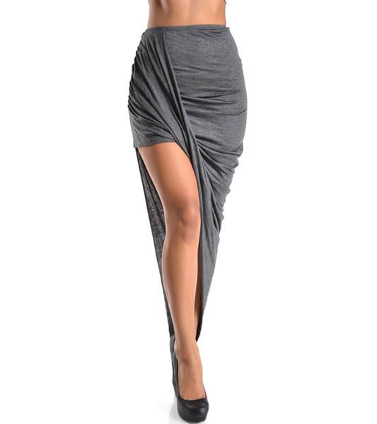 Grey Asymmetrical Draped Lay Over Skirt | Emprada