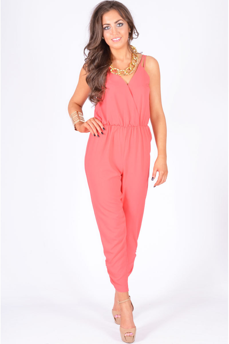 Richmond Cross Over Chiffon Strappy Jumpsuit In Coral